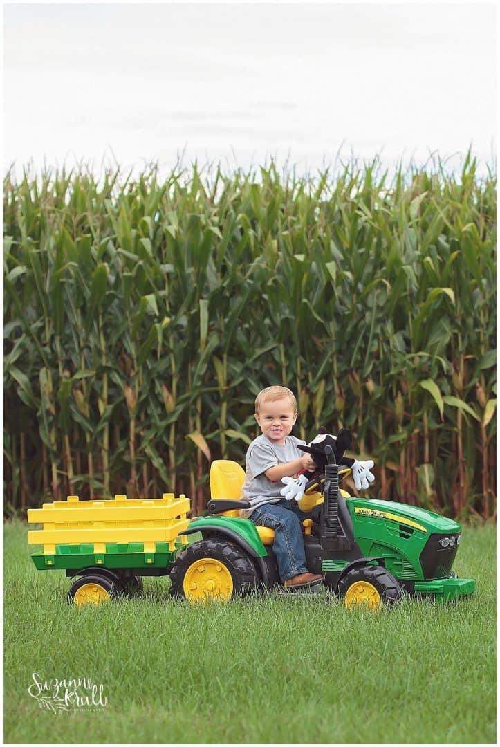 John Deere Birthday, Toddler pictures, sycamore children's photographer, boy with john deere tractor